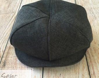 Newsboy cap, Drivers cap, Golfers cap, Gatsby cap in Charcol. Birthday, Pageboy, christening, newborn photoshoot, cakesmash accessory