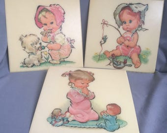 Vintage Wall Plaques, Girl's Bedroom Decor, Wall Art by Pete Hawley, Set of 3 Wall Plaques