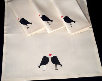 Bird dinner napkins, stenciled - black and red - set of 4 - love bird napkins