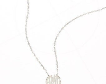 Petite Sterling Silver Circle Monogram Necklace