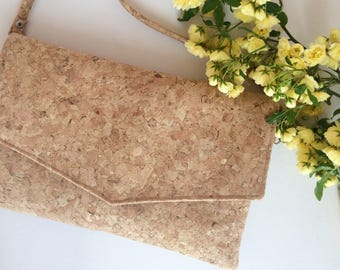 Cork clutch, vegan purse, envelope clutch, cork bag
