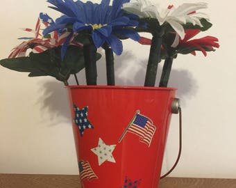 American Spirit Daisy Flower Pen Pot / Memorial Day, Independence Day, Office Decor