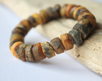 Dark amber bracelet for him, stretchy bracelet, unpolished amber bracelet, unpolished amber beads, natural Baltic amber, bracelet for men