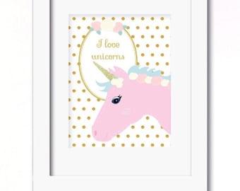 A4 I love unicorns print