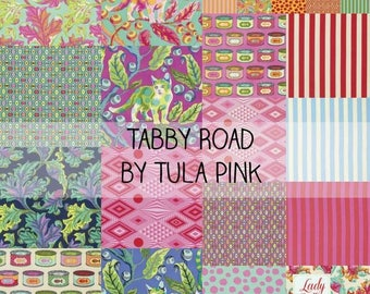 """Tabby Road Tula Pink Layer Cake 10"""" squares. Factory cut. In stock!!"""