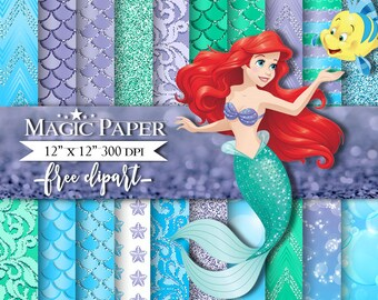 50% OFF SALE The little mermaid Digital Papers, Paper, Scrapbook