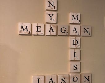 Scrabble Wall Tiles  Family Names Game Room Gallery Wall with Wall Mount Keyhole