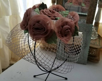 Floral Veiled Vintage Hat From The 1960's