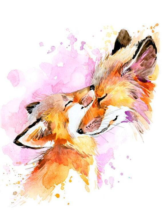 Cotton Fabric Foxes Pillow Panel White Pink Orange