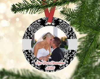 First Christmas Ornament Married - First Christmas Married - First Christmas as Mr and Mrs - Personalized - Photo Ornament - Newlywed Gift