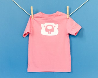 Organic Cotton Beaver T-Shirt in Pink with White / Size 4