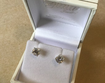 CZ diamond and sterling silver stud earrings