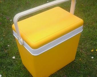 70s Mod Cooler - - retro 1970s coolbox -yellow camper van festival picnic