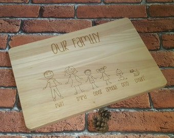 Family Chopping Board, Personalized Cutting Board, Thanks Giving , Family Tree, Cheese Board, Engraved Wooden Chopping Board, New Home