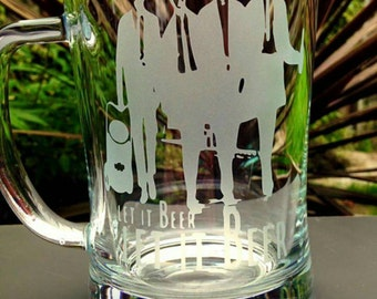 Engraved Glass Tankard - The Beatles, Let it Beer - Handmade