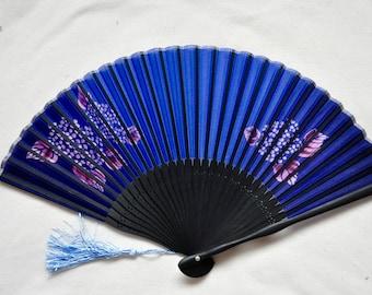 Silk Navy BlueHydrangea and leaves  Hand Fan with sleeve -Handheld Folding Fan, Japanese Hand Fan,Japanese folding fan,