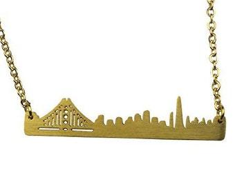 Art Attack Goldtone Golden Gate San Francisco California Cityscape Outline Pendant Necklace
