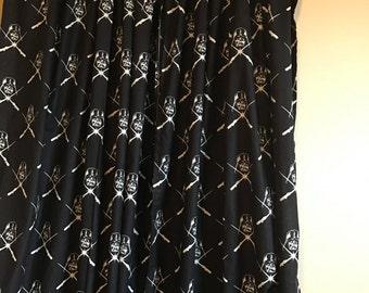 Black star wars glow in the dark curtain  panels choose size