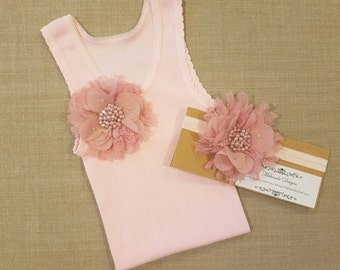 Baby girl vintage inspired singlet & headband set.Embellised singlet.Baby girl singlet. 1st birthday outfit. Cake smash outfit