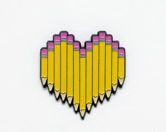 Enamel Pencil pin //  teacher appreciation gift, gift for teacher, gift for writer, stationery lover, artist gift, back to school