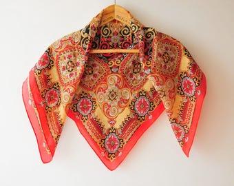 Vintage silk scarf, orange scarf, Italian scarf, unique gift, gift for her, classic scarf, pure silk scarf, silk shawl
