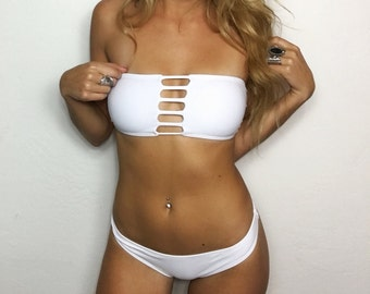 "Small ""Sailor"" White Strappy Low Rise Brazilian Bikini Set (2 Piece Set)"