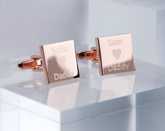 Personalised Rose Gold Love Daddy Cufflinks, Daddy Cufflinks, Engraved Rose Gold Cufflinks, Father's Day Gift, Gift For Dad, Christmas Gift