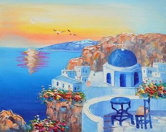 Santorini 4 oil painting on canvaslandscape for Santorini blue paint