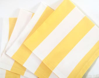Large Cloth Dinner Napkins, Wide Stripes, Yellow and White, Summer Beach Napkins. Everyday Luxury Table Linens. Reusable.