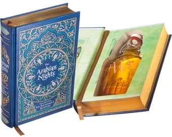 Flask Hollow Book - The Arabian Nights - Translated by Sir Richard F. Burton (Leather-bound) (Magnetic Closure) (Custom-Etched)