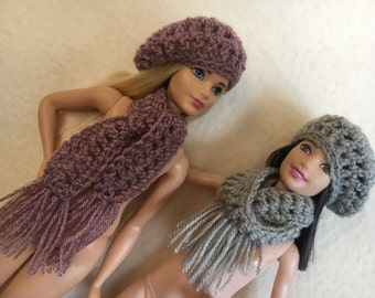 Handmade Barbie Clothes, Crochet Slouch Hat and Scarf.  4 colors to choose from Pink, Gray, Blue or Green