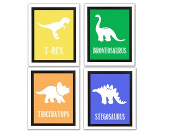 Dinosaur Wall Art Set Instant Printable - Nursery Decor or Play Room Wall Art - Printable Decor Digital Download diy Dino Birthday Party