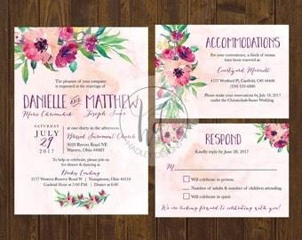 Watercolor Floral Wedding Invitation, Elegant Wedding Invitation,  Floral Wedding Invite, Watercolor Wedding Invite, Water color invitation