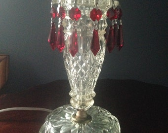 Glass Boudoir Lamp/Vintage glass table lamp/Vintage red crystal boudoir lamp/Glass lamp/refurbished lamp/upcycled lamp/Crystal Nightstand