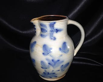 Wisconsin Pottery Salt Glaze Pitcher/Salt Glazed Stoneware/ Blue Gray Stoneware/MEL Wisconsin Pottery