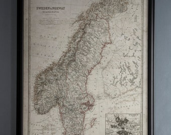 Sweden and Norway Map: Vintage Map of Sweden and Norway - Circa 19th C. - Weathered Map Print