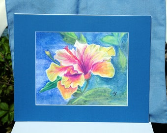 hibiscus watercolor print 8x10 with matte (5x7 print)
