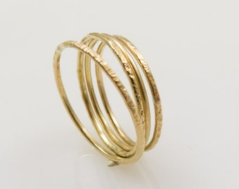 Set rings, 333 gold, yellow gold, 8 CT, hammered stacking rings,