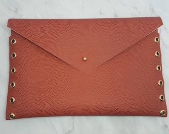Reddish Brown Snake Skin Envelope Clutch
