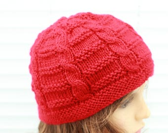 "Instant download ""katie"" knitted ladies  beanie knitting pattern, Beanie, Cap HKP8"