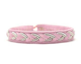 Swedish Sami Bracelet of pewter thread with 4 % silver, and reindeer leather