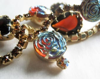 Vintage Choker Red Carnival Glass Molded Flowers*Pear Shaped Red Rhinestones*Citrine Round Rhinestones*Open Back Setting*Iridescent Blue