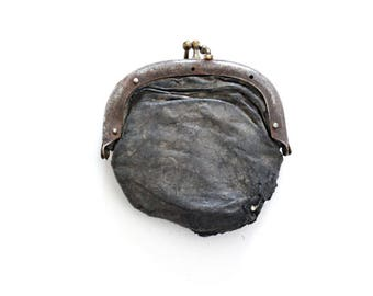 Antique Coin Purse . leather coin purse . vintage coin purse . old coin purse . change purse . change pouch . junk drawer