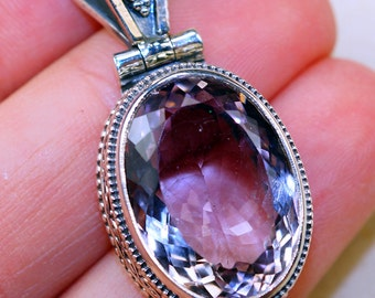 Genuine Pink Amethyst & Peridot  set in Solid 925 Sterling Silver Pendant