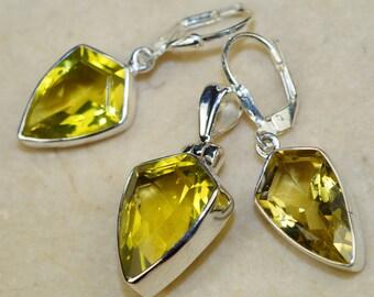 Genuine  Citrine   & 925 Sterling Silver  Earrings and Pendant Set