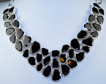 Genuine All Natural Black Spinel & 925 Sterling Silver Necklace