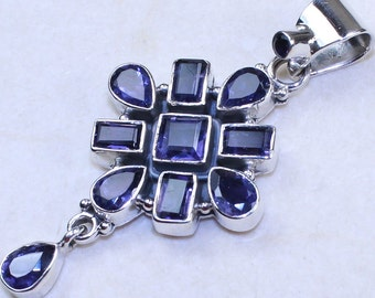 Elegant Iolite & 925 Sterling Silver Pendant by Silver Trend