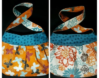 Reversible Floral and Butterfly Pleated Purse in Teal, Orange, Maroon, Cream, and Grey