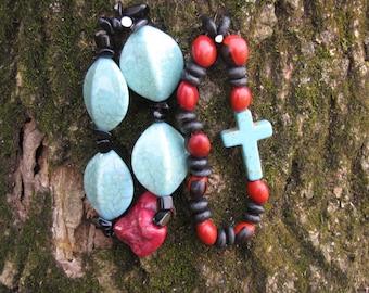 Turquoise + Black Bracelet Set