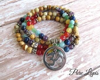 108 Mala Chakra Bracelet, Om bracelet Namaste 7 Chakras bracelet Charka  healing Jasper bohemian meditation  jasper stone Mala beads